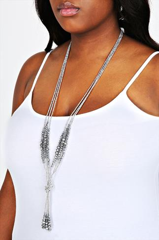 Silver Bead Knot Necklace
