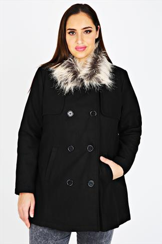Black Double Breasted Pea Coat With Faux Fur Collar