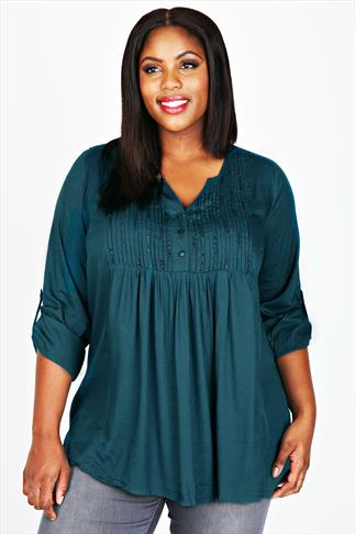 Teal Pin-Tuck Longline Top With Bead Embellishment