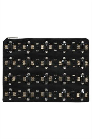 Black Stone Embellished Clutch Bag