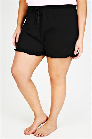Black Cotton Pyjama Shorts With Frill Edge