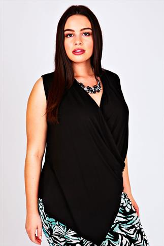 Black Wrap Front Jersey Sleeveless Top