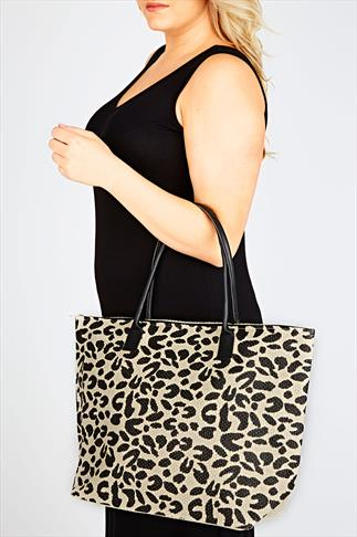 Cream And Black Animal Print Shopper Beach Bag