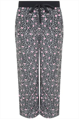 Pink & Black Animal Print Fleece Pyjama Bottoms
