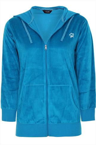 Bright Blue Zip Up Velour Hoody With Crown Detail