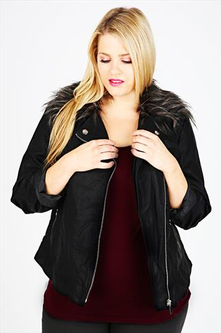 Black Leather Look Jacket With Detachable Fur Collar