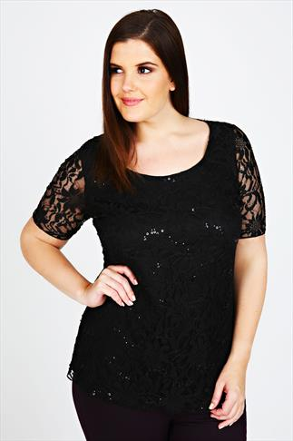 Black Lace Top With Sequin Embellishment