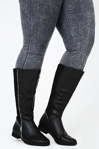 Black Zip Detail Knee High Riding Boot In EEE Fit