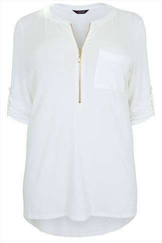 White Zip Front Jersey Top With 3/4 Length Sleeves