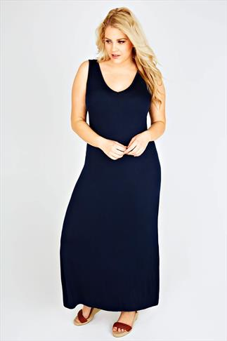 Navy Plain V-Neck Sleeveless Jersey Maxi Dress