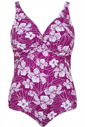 Purple TUMMY CONTROL Floral Print Twist Swimsuit
