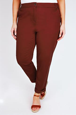 Burgundy Chino Trousers With Turn Back Cuffs