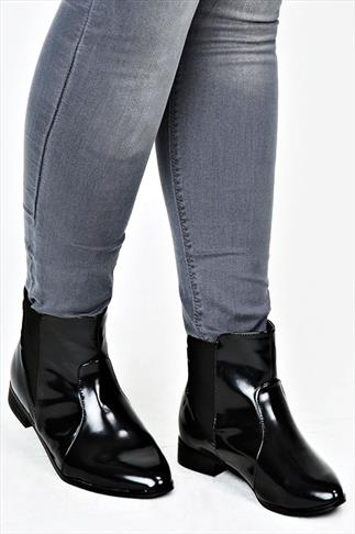 Black Patent Chelsea Boots With Elasticated Panel In EEE Fit