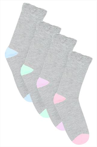 Grey & Pastel 4 Pair Pack Heel And Toe Socks In Extra Wide Fit
