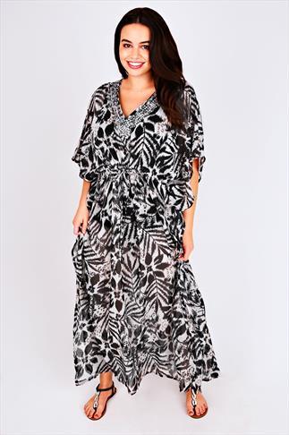 Cream & Black Printed Embellished Neck Long Kaftan