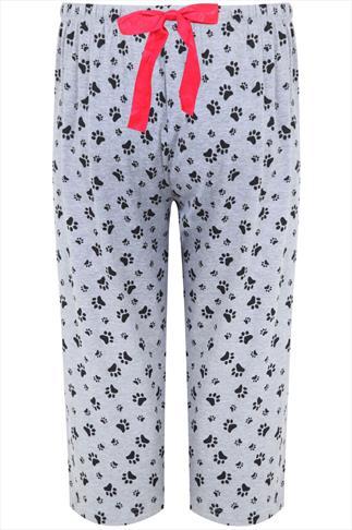 Grey Paw Print Cropped Pyjama Bottoms