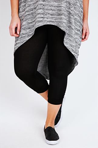 Black Ruched Leg Viscose Elastane Cropped Leggings