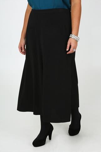 Black Crepe Flared Maxi Skirt With Panel Detail