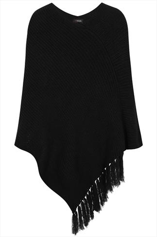 Black Chunky Knit Poncho With Tassels
