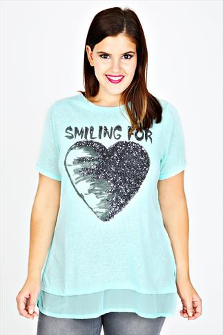 Turquoise Short Sleeved Top With Heart Print