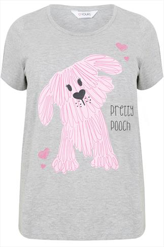 "Grey ""Pretty Pooch"" Print Jersey Pyjama Top"