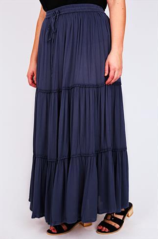 Denim Blue Gypsy Maxi Skirt With Crochet Detail