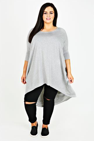 Grey Oversized Top With Extreme Dipped Hem