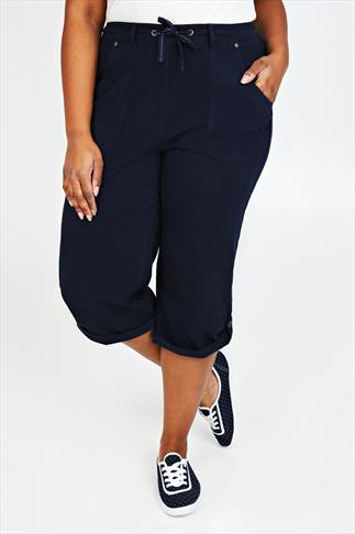 Navy Cool Cotton Roll-Up Crop Trousers With Stud Detail