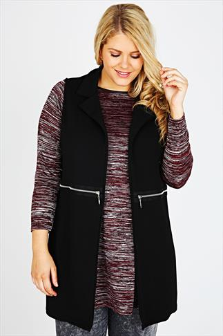 Black Longline Waffle Sleeveless Jacket With Zip Details