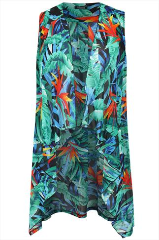 Green Tropical Print Waterfall Longline Waistcoat