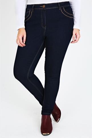 Indigo Skinny Jeans With Stitch Detail