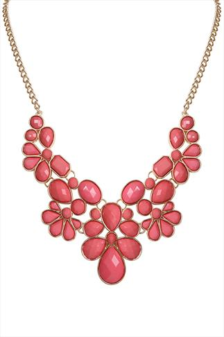 Coral & Gold Beaded Statement Necklace