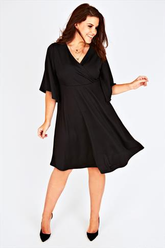 Black Crepe Wrap Front Dress With Flared Short Sleeves