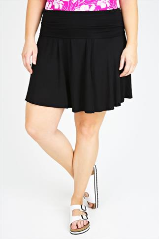 Black Turn Down Waist Short Jersey Skirt