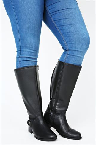 Black Leather Knee High Riding Boots With Buckle Trim & XXL Calf Fitting