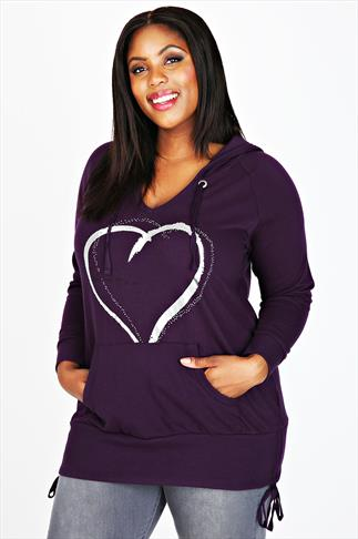 Purple Foil Heart Pull Over Hoodie With Kangaroo Pocket