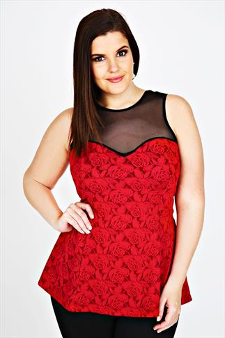 Red Glitter Rose Textured Peplum Top With Mesh Panel