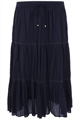 Navy Cotton Voile Maxi Skirt With Crochet Detail