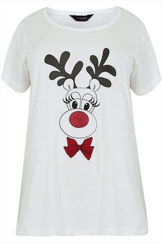 Ivory Christmas Reindeer Pyjama Top