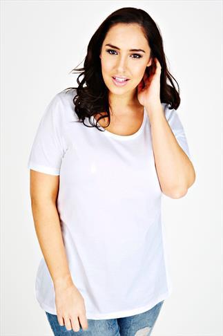 White Scoop Neck Cotton T-Shirt