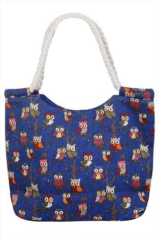 Dark Blue Owl Print Beach Bag