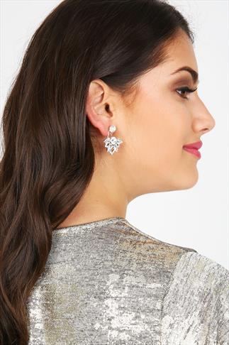 Silver Tone Crystal Statement Back Drop Stud Earrings