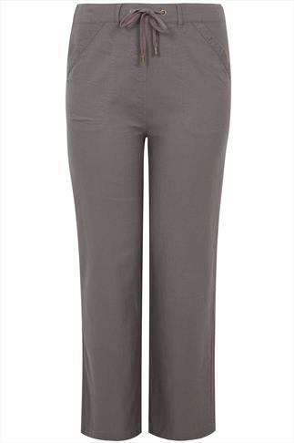 Taupe Linen Mix Full Length Trousers With Four Pockets - PETITE