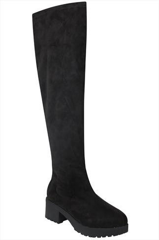 Black Over The Knee Suedette Platform Boots With Cleated Soles In EEE Fit