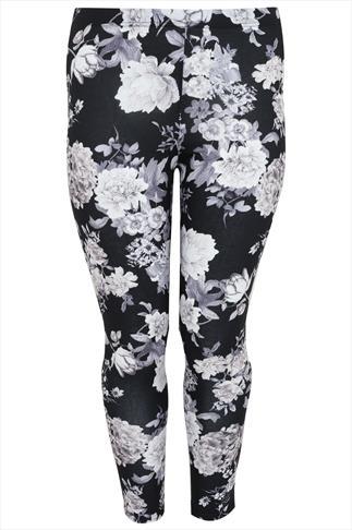 Black, White & Grey Floral Print Legging