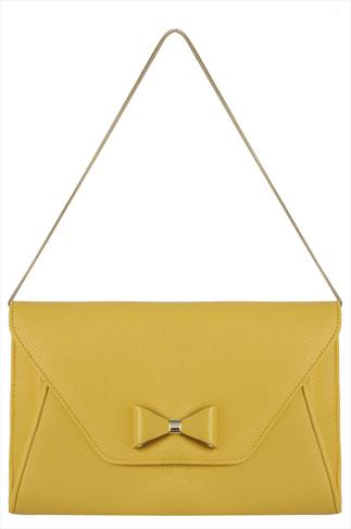 Yellow Clutch Bag With Bow Detail And Gold Shoulder Chain