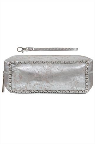 Metallic Silver Make Up Case With Chain Detail & Wrist Strap