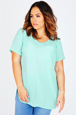 Pastel Green V-Neck Chiffon Top With Pleat Back And Dipped Hem