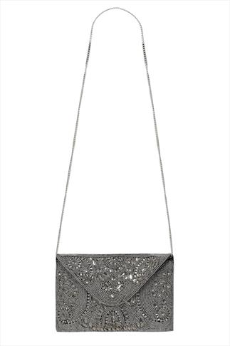 Silver Hand Beaded Occasion Clutch Bag With Chain Strap