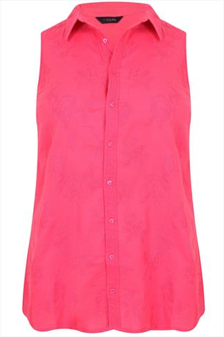Pink Floral Embroidered Sleeveless Shirt